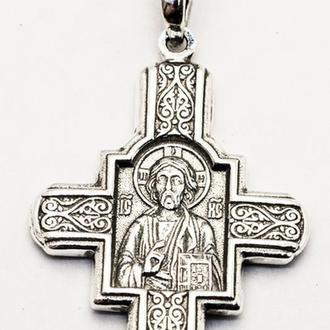Серебряный крест Господь Вседержитль. Пантелеймон Целитель Арт  РП333