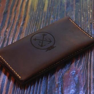 """Портмоне мужское -30% Скидка. Клатч """"T-Case"""" Тревел, кожаный кошелёк, бумажник, подарок для мужчины"""