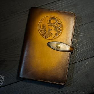 Коричневый кожаный блокнот. Купить кожаный блокнот в Украине. Блокнот А5