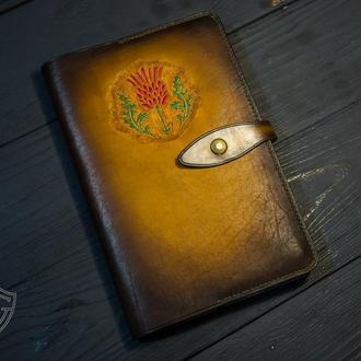 Кожаный скетчбук. Коричневый блокнот в подарок. Блокнот в кельтском стиле