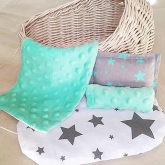 Плетеная люлька/кроватка для кукол с постелькой(матрасик, 2подушки, плед)