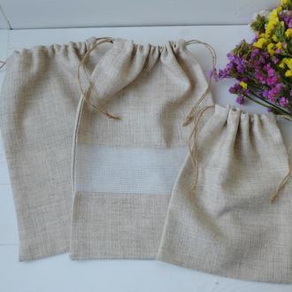 Набор льняных мешочков, эко торбочки, мешки для хранения, для продуктов 05 zero waste мішечки
