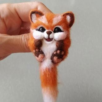 Валяная брошь лисичка лиса