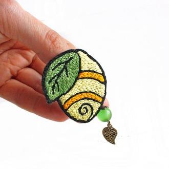Большая брошь лимон Желтая брошь на шарф Брошка подарок на 8 марта для девушки