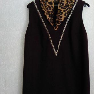 Зимнее шерстяное бордовое платье р. 48-50
