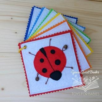 Радужные карточки из фетра- сенсорная развивающая игрушка