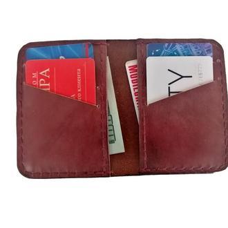 Маленький кожаный бумажник цвета махагон рас1 (12 цветов)