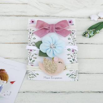 Набор повязок для девочки / Красивые повязки для малышки / Подарунок дівчинці