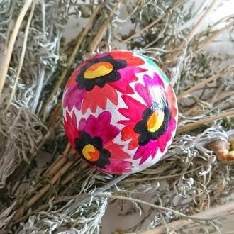 Новогодний деревянный елочный шарик