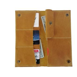 Женский жёлтый кожаный бумажник  х3 (10 цветов)