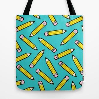 Эко сумка Карандаши. Сумка из ткани, тряпичная сумка Диаманты. Сумка из льна с рисунком Карандаши