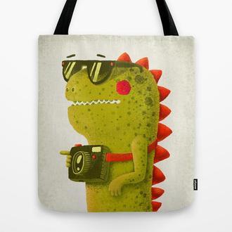 Эко сумка Дракон. Сумка из ткани шоппер, тряпичная сумка. Сумка из льна с рисунком Дракон