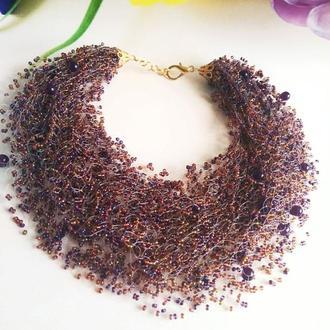 Воздушное колье фиолетовое Купить разноцветное ожерелье Лучший подарок Эффектное пышное колье