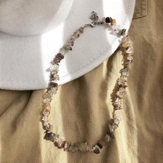 Чокер з натурального каменю, нитка з натуральних каменів, намисто з гірського кришталю