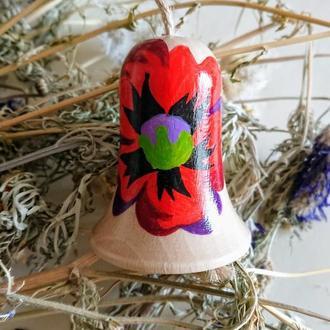 Різдвяний дерев'яний дзвіночок. Новорічний дзвіночок. Дзвіночок на ялинку.