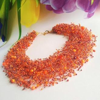 ЭКСКЛЮЗИВ! Воздушное колье оранжевый Красивое стильное ожерелье Лучший подарок женщине