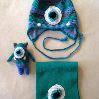 Набор шапка (деми), шарф игрушка Монстрик мальчику 1,5-3 года