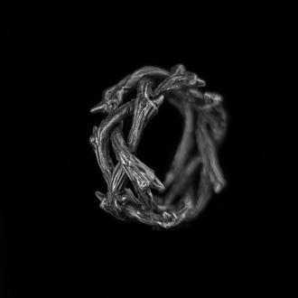Серебряное кольцо терновый венец