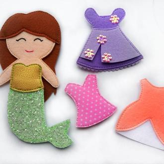 Фетровая кукла  русалочка с нарядами.