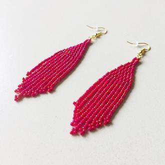 Красные бисерные серьги, длинные красные серьги, серьги из бисера