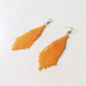 Оранжевые серьги из бисера, длинные оранжевые серьги, бисерные серьги