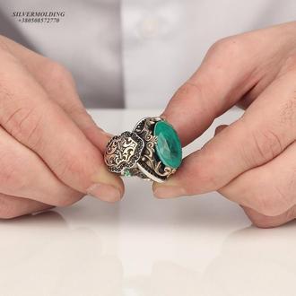Мужское кольцо из серебра 925 пробы с зеленым камнем Турмалин параиба