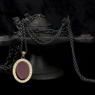 Кулон овальной формы из серебра с покрытием золота с камнем Агат на серебряной цепочке 925 пробы
