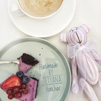 Нежный розовый Мишка тильда мягкая игрушка подарок декор дома мишутка ведмедик в полоску
