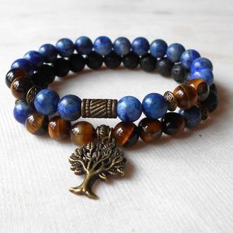 Набор браслетов из лазурита, лавы, тигрового глаза с подвеской Древо жизни
