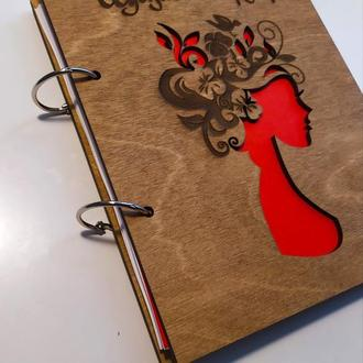 """Деревянный блокнот """"Щоденник перукаря"""" (на кольцах с ручкой), ежедневник из дерева, дневник парикмах"""