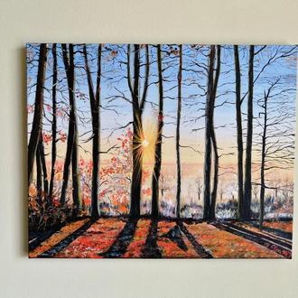 Картина морозное утро, Зимний пейзаж, Красивый пейзаж маслом, Авторская живопись, Картина на подарок