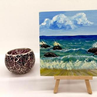 Картина миниатюра морской берег, Пейзаж море, Красивое море, Морские волны, Картина на подставке