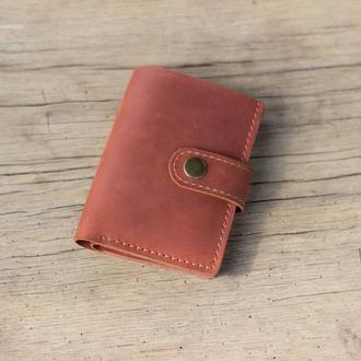 Мужской кожаный кошелек. Небольшое коричневое портмоне из кожи.