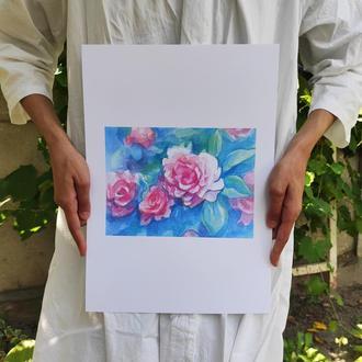 Акварельные цветы. Постер