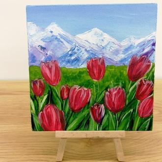 Картина миниатюра долина тюльпанов, Картина тюльпаны, Горный пейзаж, Красивые цветы, Пейзаж цветы