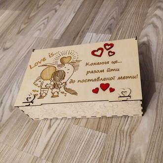 Шкатулка из дерева Семейный бюджет LOVE IS с отделениями для денег, деревянная шкатулка