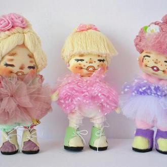 Кукла крошка блондинка в розовом