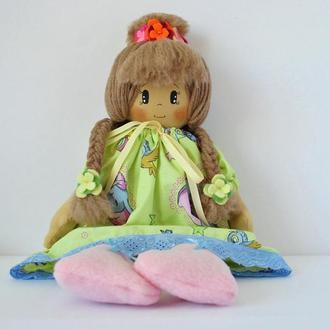 Мягкая текстильная кукла в подарок девочке. Большая игрушка в съемной одежде