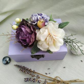Свадебная шкатулка для колец в лавандовом цвете Шкатулка для колец