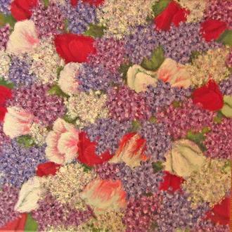 Картина масло холст Весенние цветы 40х40