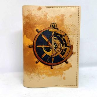Обложка для паспорта из эко кожи, подарок для моряка, морская обложка, обложка с якорем