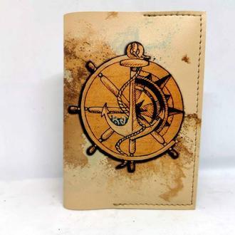 Обложка для паспорта из эко кожи штурвал, подарок моряку