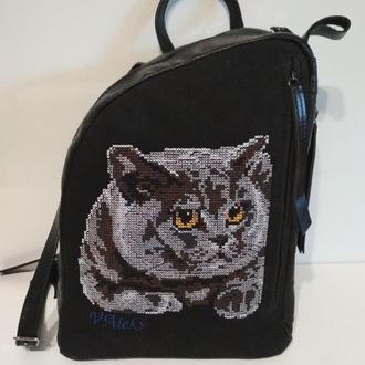 """Рюкзак кожаный с вышивкой """"Котик"""""""