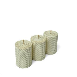 Набор из трех свечей (8,5* 6 см) цвета айвори, в подарочной упаковке