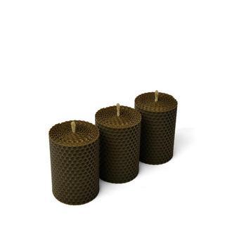 Набор из трех свечей коричневого цвета, в подарочной упаковке