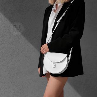 Кожаная белая сумка,Біла шкіряна сумка
