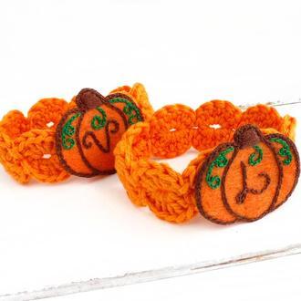 Кольца для салфеток именные Осенний декор для дома тыквы Текстиль для столовой Подарок на новоселье