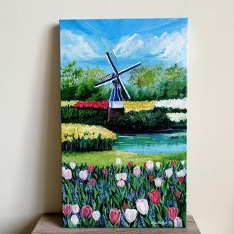 Картина маслом парк в Голландии, Картина с тюльпанами, Картина с мельницей, Авторская живопись