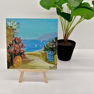 Картина миниатюра Итальянская улочка, Городской пейзаж, Авторская живопись, Красивый пейзаж
