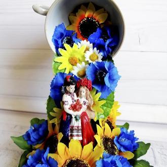Топиарий парящая чашка Квітуча Україна Оригинальный украинский сувенир в подарок